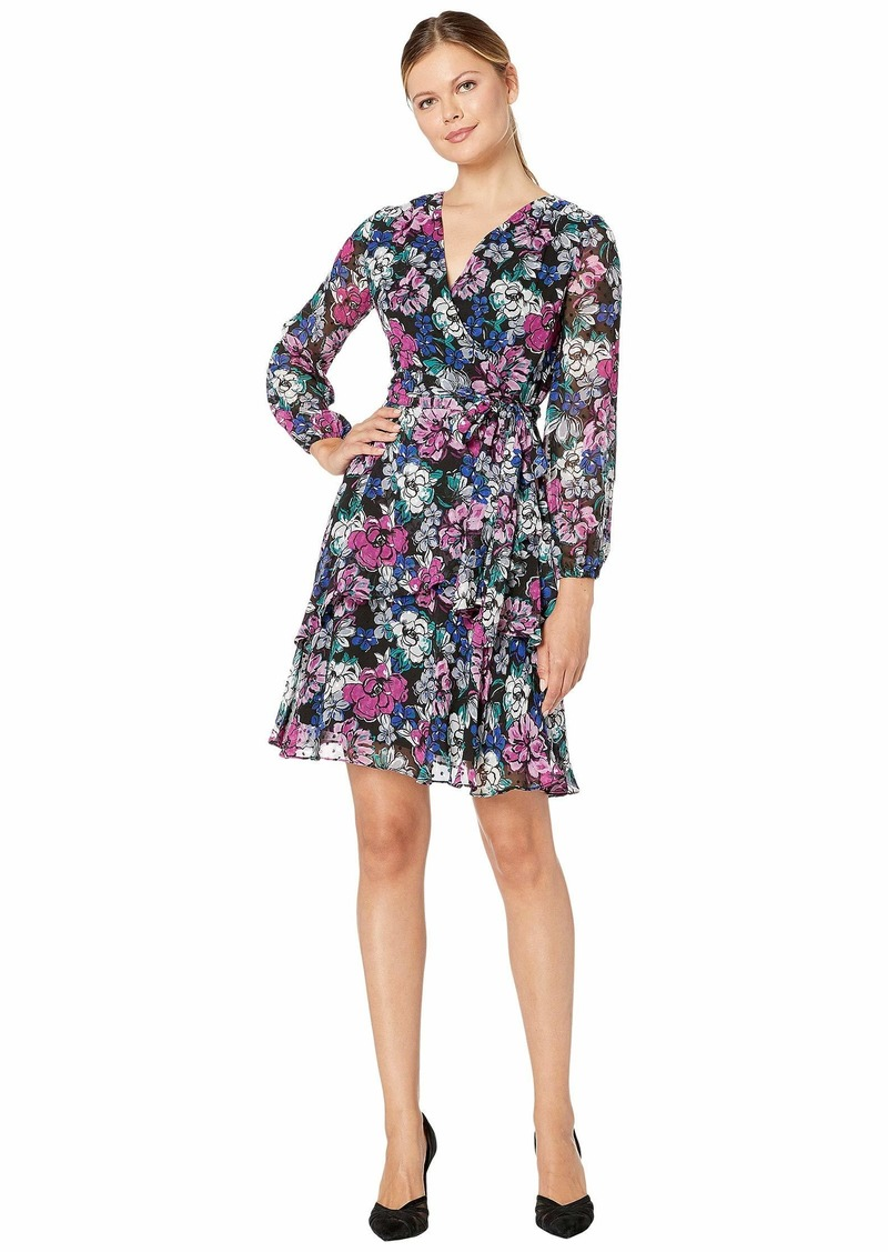 Tahari Long Sleeve Clip Dot Chiffon Floral Dress w/ Tiered Skirt Detail