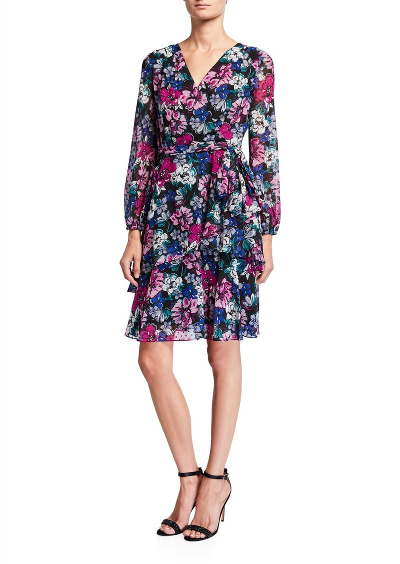 Tahari Long-Sleeve Clip Dot Floral  Dress
