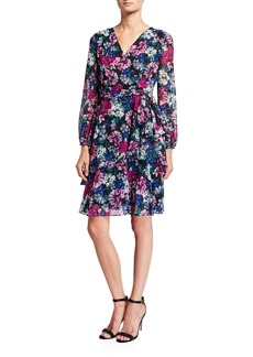 Tahari Long-Sleeve Clip Dot Floral  Dress