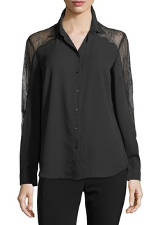 Long-Sleeve Crepe Button Down Shirt