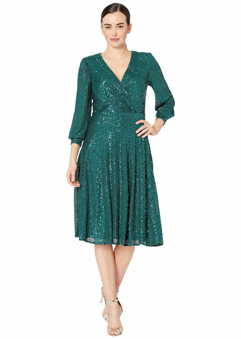 Tahari Long Sleeve Fully Sequin Dress