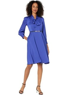 Tahari Long Sleeve Hammered Satin Tie Neck Belted Dress