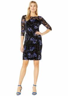 Tahari Long Sleeve Illusion Burnout Floral Dress