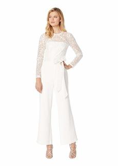 Tahari Long Sleeve Lace & Crepe Jumpsuit