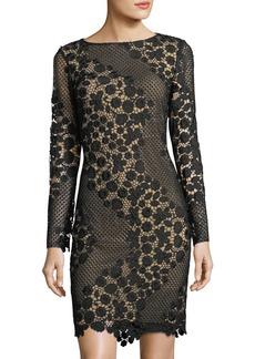 Tahari Long-Sleeve Lace Sheath Dress