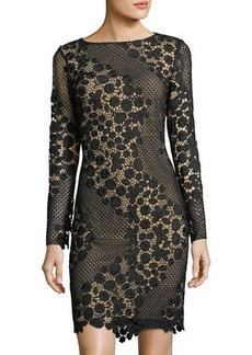 Tahari Long-Sleeve Lace Sheath Dress