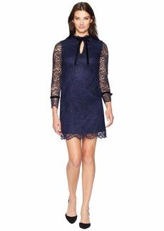 Tahari Long Sleeve Lace/Velvet Sheath with Keyhole/High Neckline