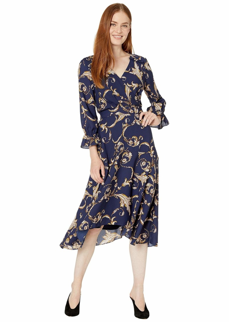 Tahari Long Sleeve Printed Crepe Status Print Dress w/ Uneven Hemline