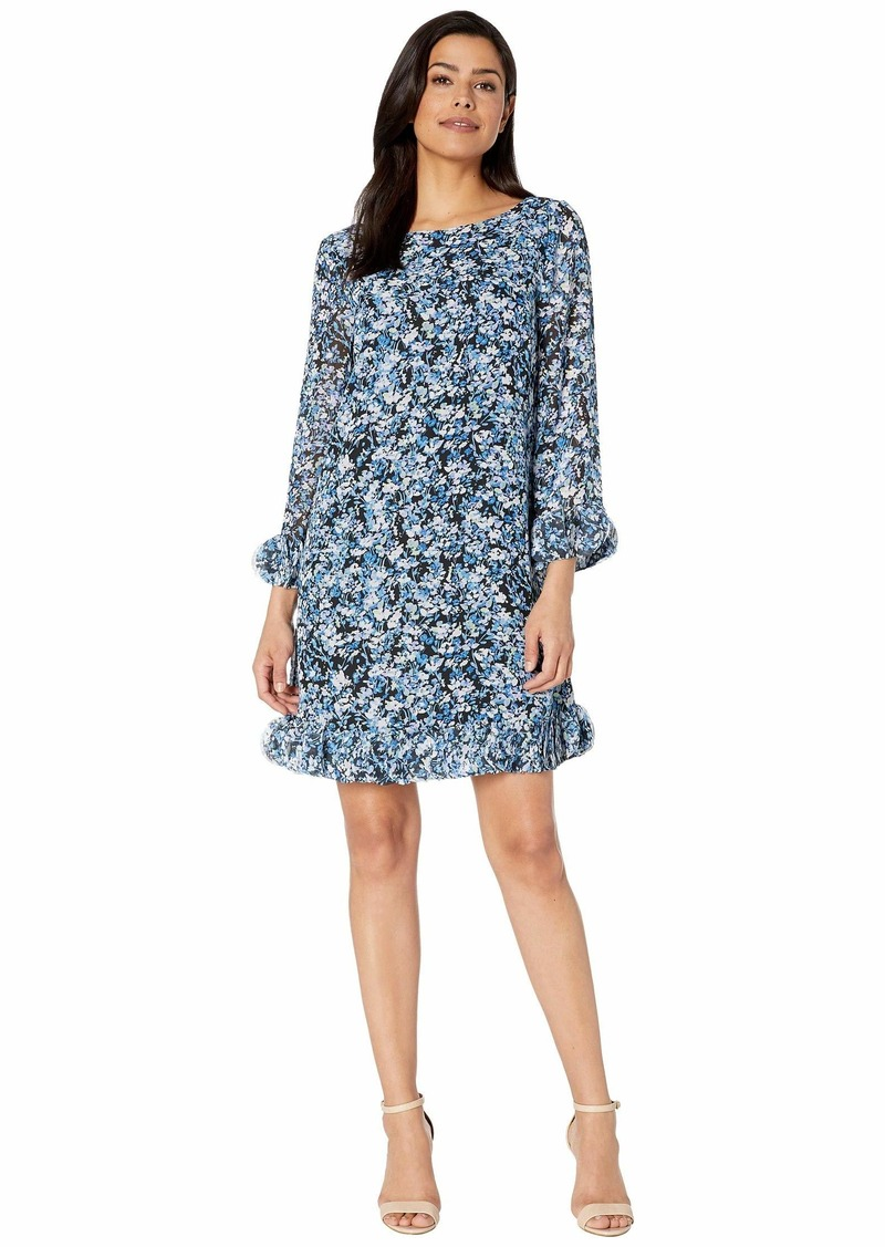 Tahari Long Sleeve Printed Ditsy Floral Chiffon Dress with Hem and Sleeve Detail