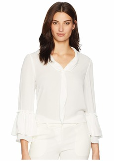 Tahari Long Sleeve Ruffle Trim Sailor Blouse