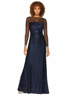 Tahari Long Sleeve Sequin Lace Column Gown with Illusion Neckline