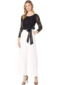 Tahari Long Sleeve Sequin Top Jumpsuit w/ Solid Stretch Crepe Pants
