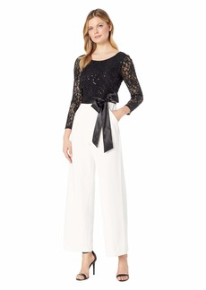 Tahari Long Sleeve Sequin Top Jumpsuit w/ Solid Stretch Crepe Pants