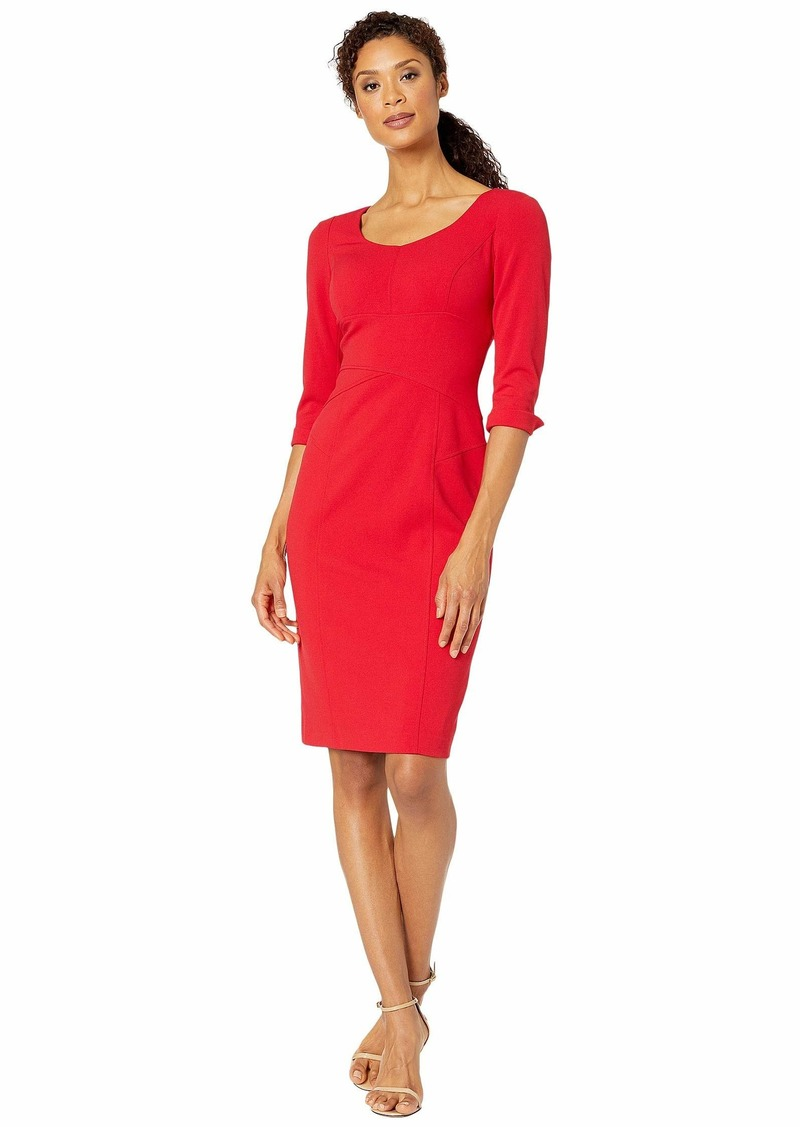 Tahari Long Sleeve Stretch Crepe Sheath Dress with Stitched Down Waistline