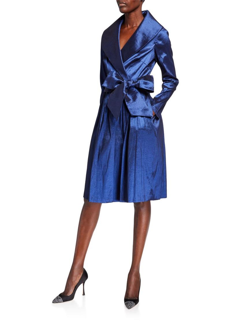 Tahari Long-Sleeve  Stretch Iridescent Taffeta Cocktail Dress