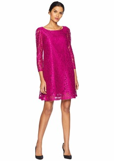 Tahari Long Sleeve Stretch Lace A-Line Dress