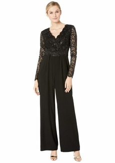 Tahari Long Sleeve Stretch Lace and Crepe Jumpsuit
