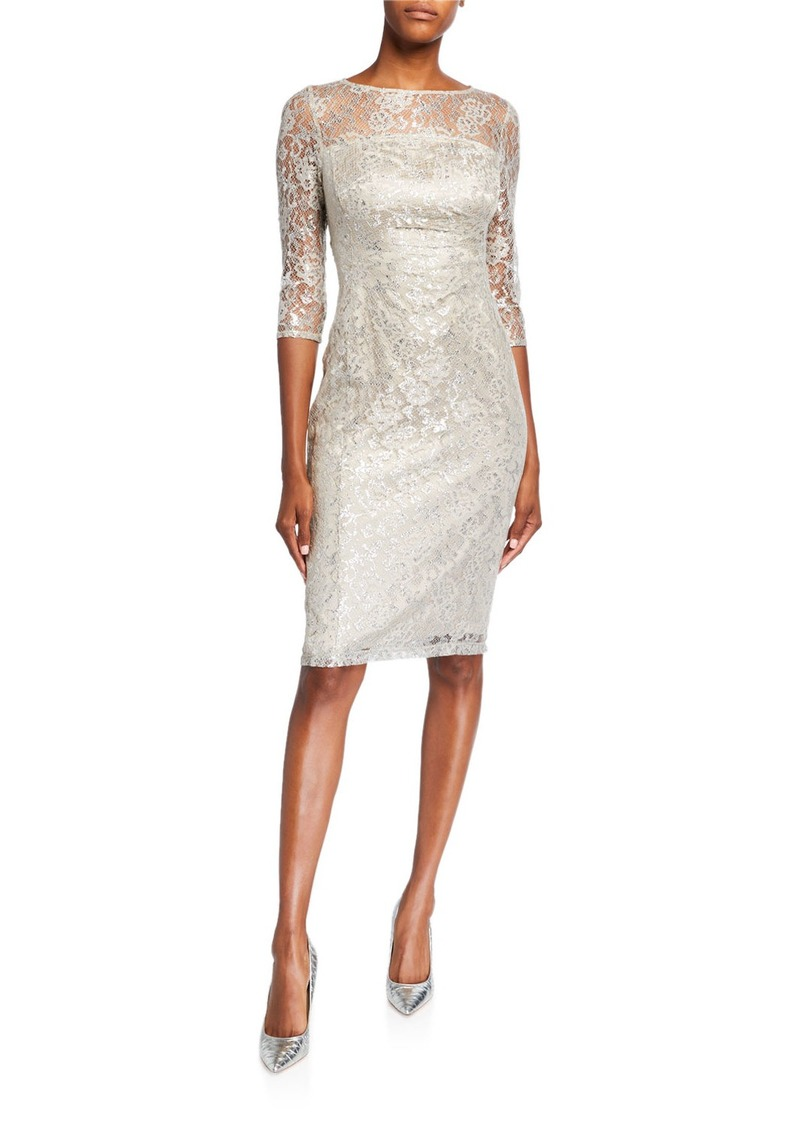 Tahari Long-Sleeve Stretch Lace Cocktail Dress