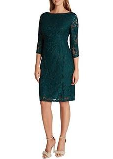 Tahari Long Sleeve Stretch Lace Side Draped Dress