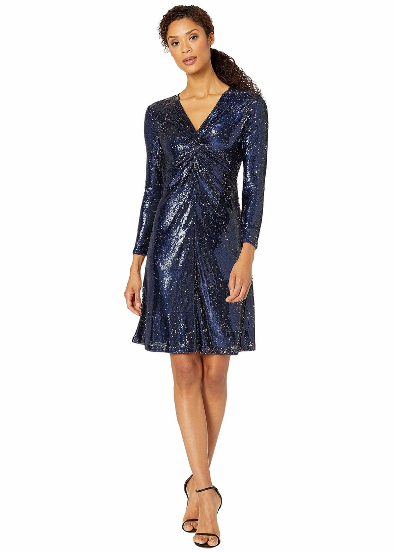 Tahari Long Sleeve Stretch Sequin Twist Front Cocktail Dress