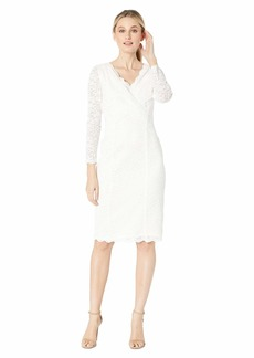 Tahari Long Sleeve Stretch Sparkle Lace Sheath with V-Neckline