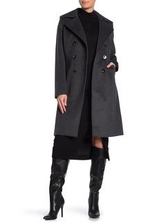 Tahari Maci Faux Fur Trim Double Breasted Wool Blend Coat