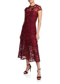 Tahari Macy Floral Lace Short-Sleeve A-Line Dress