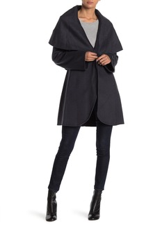 Tahari Marilyn Cape Overlay Wool Blend Coat