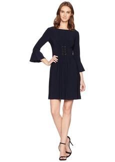 Tahari Matte Jersey Lace-Up Dress