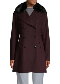 Tahari Melton Faux Fur Collar Peacoat
