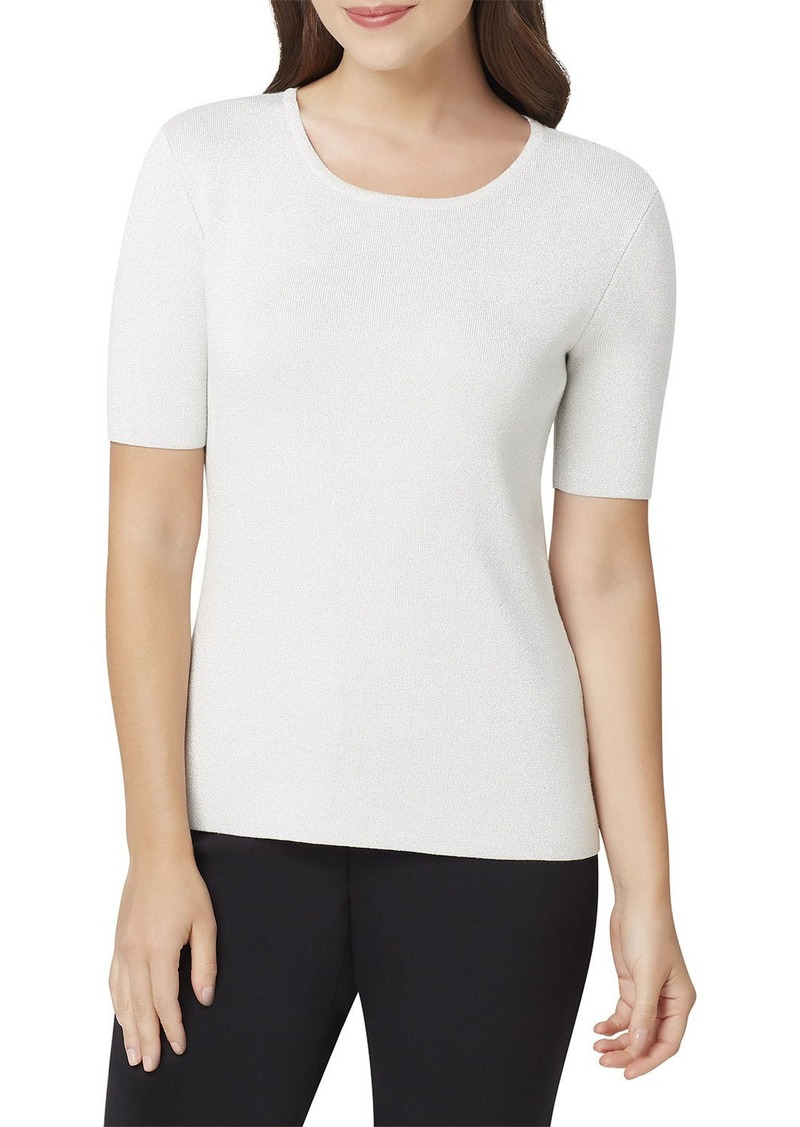 Tahari Metallic Short-Sleeve Sweater