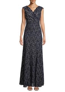 Tahari Metallic Stretch-Lace Gown
