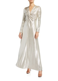 Tahari Metallic Twisted-Front Long-Sleeve Dress