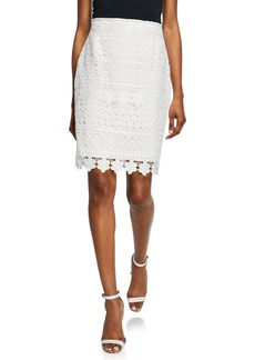 Tahari Mid-Rise Embroidered Lace Skirt