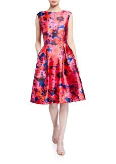 Tahari Mikado Floral Print Fit-&-Flare Dress