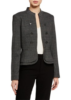 Tahari Military Plaid Peplum Jacket