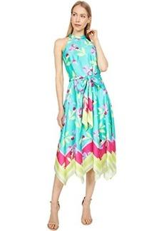 Tahari Mock Neck Printed Twill Halter Dress with Hanky Hemline