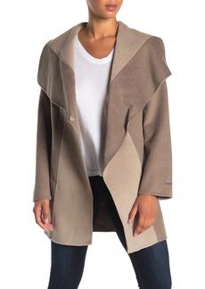 Tahari Nikki Two-Tone Drape Collar Coat