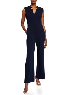 Tahari Notch-Neck Wide-Leg Jumpsuit