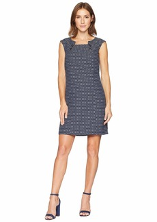 Tahari Novelty Cap Sleeve Dress with Button Detail at Neckline