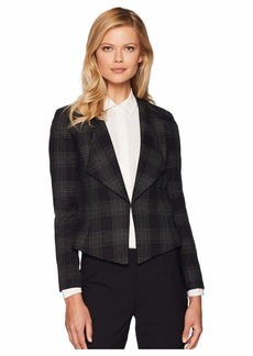 Tahari Novelty Plaid Open Jacket