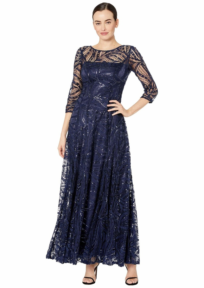 Tahari Novelty Sequin Sleeved Gown