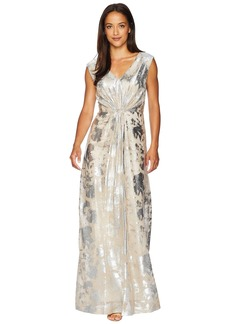 Tahari Novelty Stretch Gown with Waist Detail
