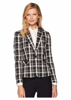 Tahari Novelty Plaid One-Button Jacket