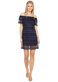 Tahari Off Shoulder Lace Shift Dress
