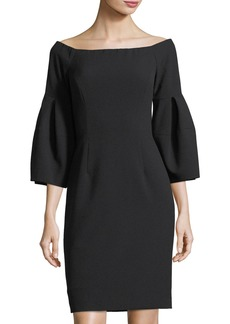 Tahari Off-the-Shoulder Bell-Sleeve Dress