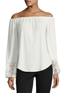 Tahari Off-the-Shoulder Knit Top w/ Lace
