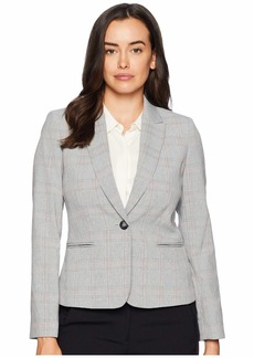 Tahari One-Button Plaid Long Sleeve Jacket