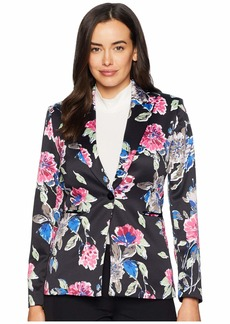 Tahari One-Button Printed Satin Floral Jacket
