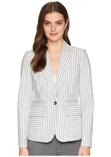 Tahari One-Button Striped Jacket
